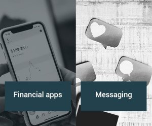 Types of mobile apps developed by ZYNK: financial and messaging solutions.